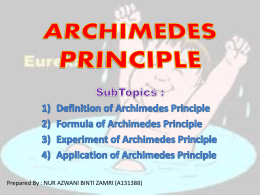 By Archimedes` principle