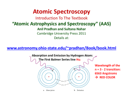Atomic Spectroscopy With Reference To The Textbook Atomic