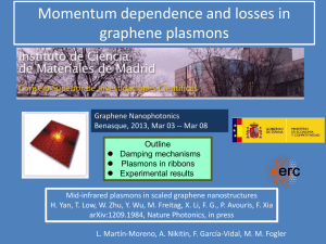 Momentum dependence and losses of graphene plasmons.