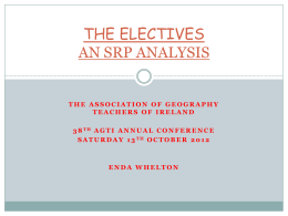 THE ELECTIVES AN SRP ANALYSIS - Association of Geography
