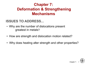 Chapter 7: Dislocations & Strengthening Mech
