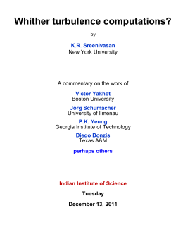 K R Sreenivasan - Department of Physics