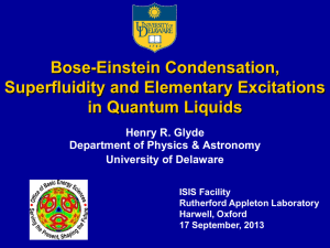 Bose-Einstein Condensation, Superfluidity and Elementary