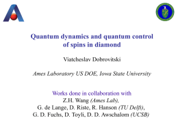 Quantum dynamics and quantum control of spins in diamond