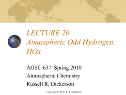 Odd Hydrogen, HOx - Atmospheric and Oceanic Science