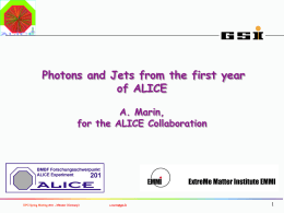 Photons and Jets from the first year of ALICE A. Marin, for the ALICE