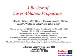 A Review of Laser Ablation Propulsio