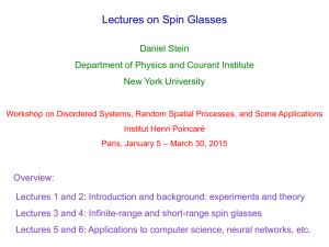Lectures 1 and 2 - disordered systems, random spatial processes