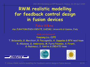 RWM realistic modelling for feedback control design in fusion devices