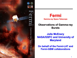 9:50-10:30 J. McEnery (Invited): Observations of Gamma