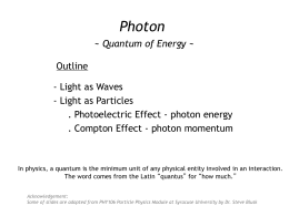 Photon: quantum of energy