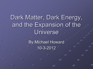 Dark Matter, Dark Energy and the Expansion of the Universe .