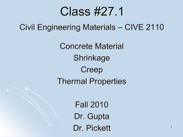 Class 27.1 CIVE 2110 Concrete shrinkage creep thermal
