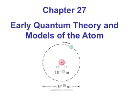 Chapter 27 Early Quantum Theory and Models of the Atom 27.1