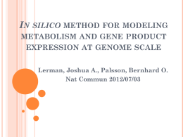 In silico method for modeling metabolism and gene product expr. at