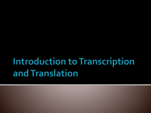 Introduction to Transcription and Translation
