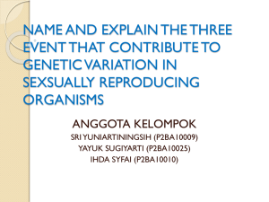 name and explain the three event that contribute to genetic variation