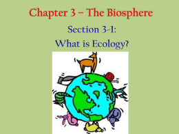 Chapter 3 * The Biosphere