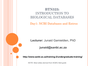 Introduction to Biological Databases – Day 1
