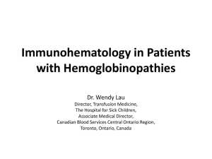 Immunohematology in Patients with Hemoglobinopathies final pt 1
