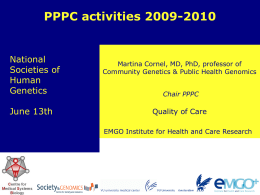 Current activities of the PPPC: Reccommendations on DTC testing