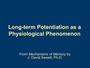 Chapter 4. Long-term Potentiation as a physiological