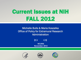 GMAC Fall 2012 NIH Update - USF Research & Innovation