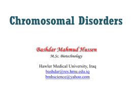 Chromosomal Disorders1 - Hawler Medical University
