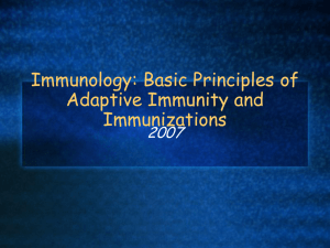 Immunology: Basic Principles of Adaptive Immunity and Immunizations