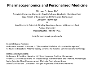 Personalized Med presentation - Michael D. Kane, Ph.D.