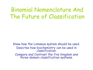 Binomial Nomenclature And The Future of Classification