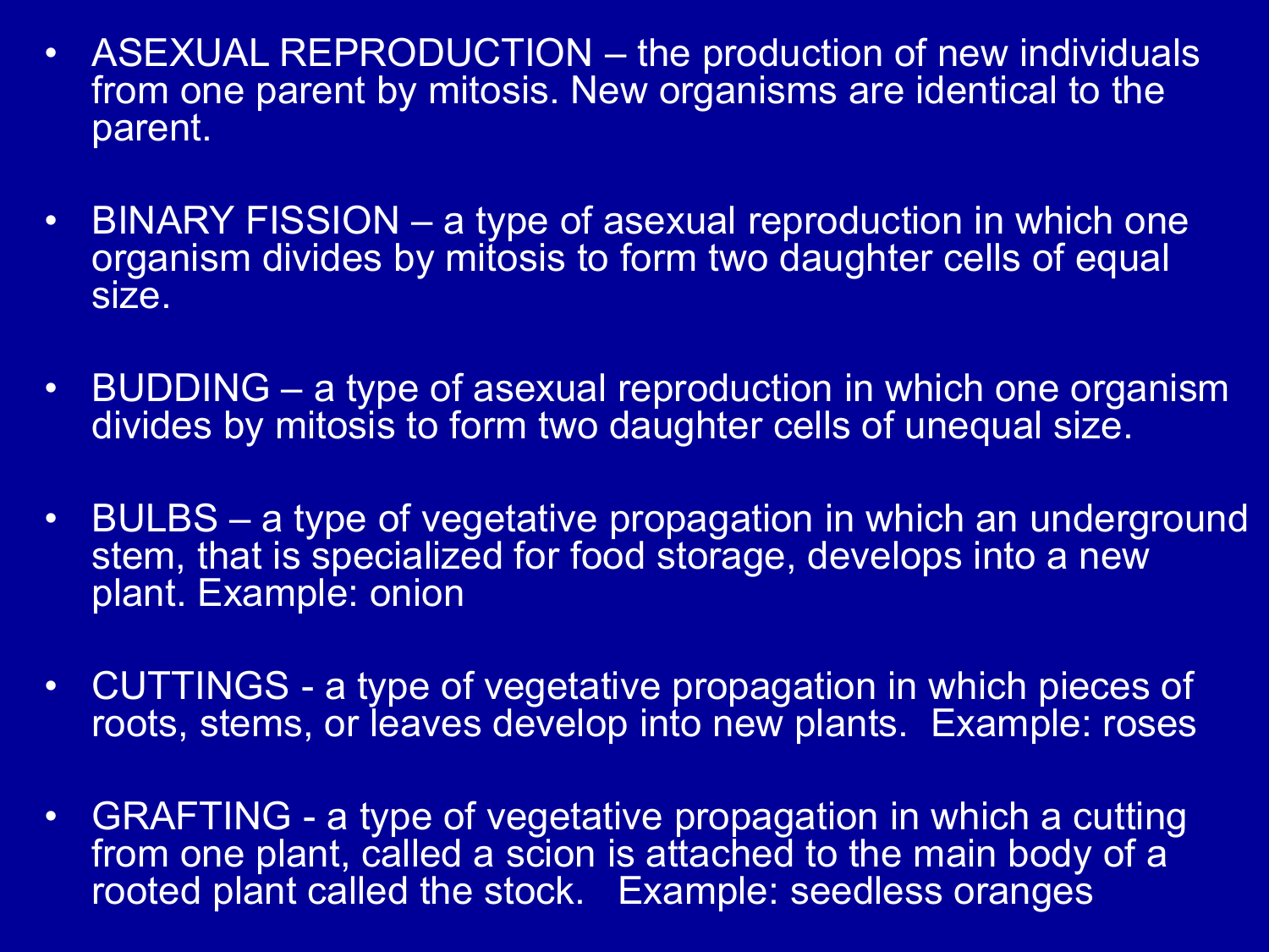 What are the 2 types of asexual reproduction