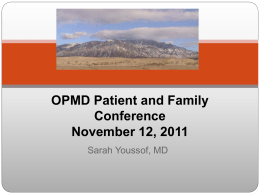 OPMD Patient and Family Conference November