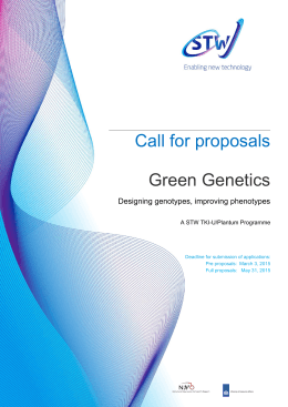 Call for proposals Green Genetics