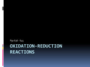 Redox Reaction and Oxidation Numbers