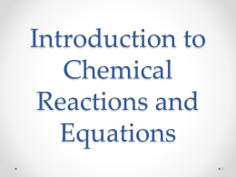 Introduction to Chemical Reactions and Equations