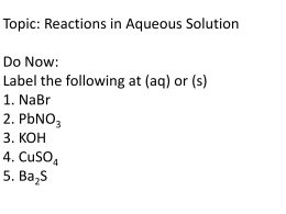 Reactions in aq solutions