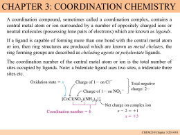 Chapter 3 Coordination chemistry