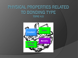 Topic 4.5 Physical Properties and Bonding Types