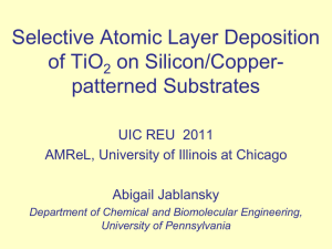 Selective ALD of TiO2 by the Reduction of Native Copper Oxide