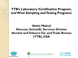 TTB`s Laboratory Certification Process, and