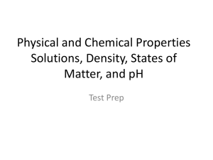 Physical and Chemical Properties Solutions, Density, States of
