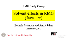 Solvent Effects in RMG