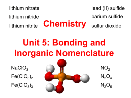 Unit 5 Bonding and Nomenclature