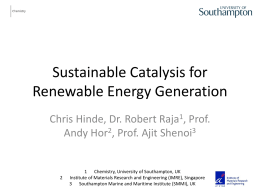 Sustainable catalysis for renewable energy generation