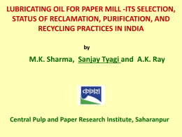 13. Lubricating Oil For Paper Mill-Its Selection, Status of