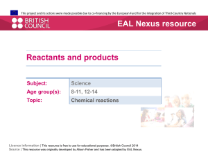 Reactants and products  - EAL Nexus