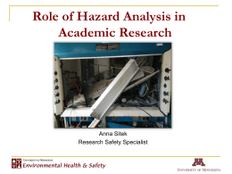 Role of Hazard Analysis in Academic Research