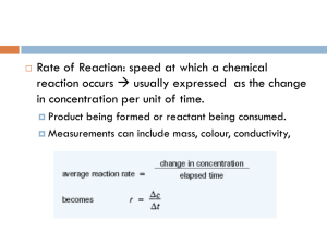 CHAPTER 6 - RATES OF REACTION