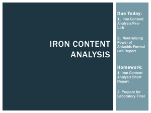 Lab 12: Iron Content Analysis